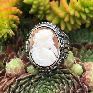 Woman Cameo Poison Sterling Silver Ring Sz 8